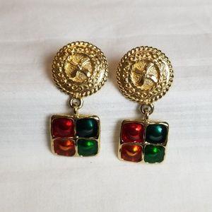 Gold Tone Circle Square Drop Earrings